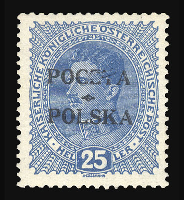 From Our May 2013 Auction Poland 1919 Krakow Issue 25h Blue Position IIB 7 Damaged CZT In Poczta Never Hinged And Post Office Fresh
